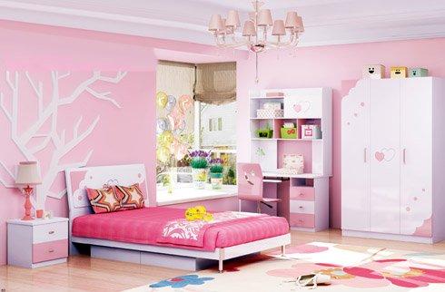 Bộ phòng ngủ đồng bộ công chúa cho bé gái tone màu hồng nhẹ nhàng
