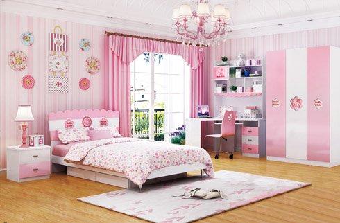 Bộ phòng ngủ đồng bộ cho bé sắc hồng dễ thương