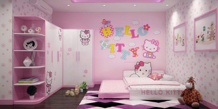 Trang trí phòng ngủ cho bé gái màu hồng cùng mẫu giường Hello Kitty