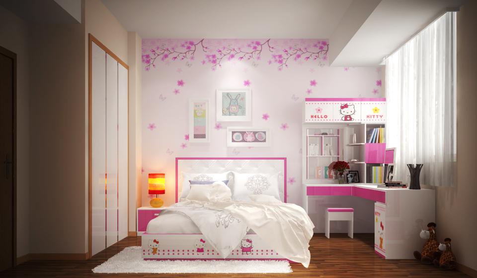 Trang trí phòng ngủ cho bé màu hồng bằng giấy dán tường