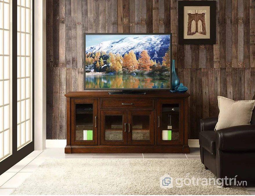 Mẫu tủ kệ tivi bằng gỗ tự nhiên